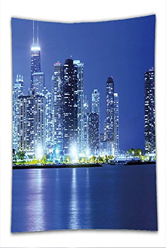 Nalahome Fleece Throw Blanket Urban Chicago City Night Financial District Skyscrapers Buildings Downtown Panorama Violet Blue Silver