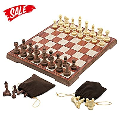 Chess Set --HoveBeaty Portable Classic Folding Travel Magnetic woody Chess Set