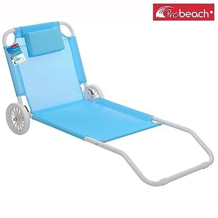 Pro Beach Chaise Longue De Plage Pliable 2 Roues Bain De Soleil