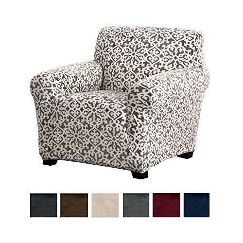Modern Velvet Plush Arm Chair Slipcover. Strapless Chair Cover, Stretch Slipcover for Arm Chairs, Soft Chair Cover for Living Room. (Chair, Wild Dove Grey - Snowflake) (Furniture Covers Chair)