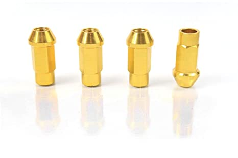 Gold - Anodized Aluminum - 50mm Racing Wheel Open End LUG NUT for NISSAN 84-