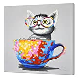 SEVEN WALL ARTS -Modern Animal Artwork 100% Hand-Painted Oil Painting Animal Artwork with Stretched Frame for Home Decor (Cute Cat, 32 x 32 Inch)