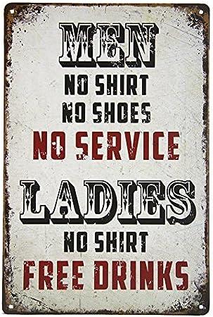 Metal Tin Sign girls no shirt free drinks Bar Pub Vintage Retro Poster Cafe ART