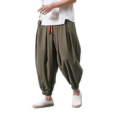 Rmoon - Pantalones Harem de algodón para Hombre, Estilo ...
