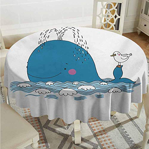 ScottDecor Outdoors Round Tablecloth Whale Sea Mammal Caricature Swimming in The Ocean and Splashing Water with Seagull Blue and White Christmas Tablecloth Diameter 36