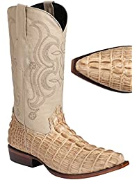 Men's Caiman Tail Print Boots Snip Toe Handcrafted