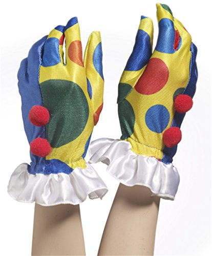 Forum Novelties 66782 Unisex-Adults Clown Gloves W Poms, Multi, Standard, Multicolor