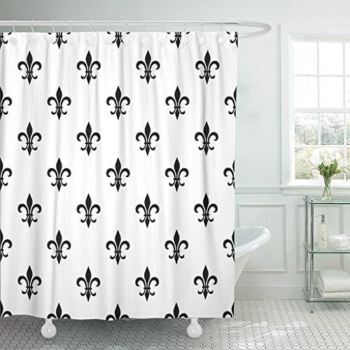 TOMPOP Shower Curtain Fleur De Lis Black White Floral Elegant Royal Lily Waterproof Polyester Fabric 72 x 72 Inches Set with Hooks