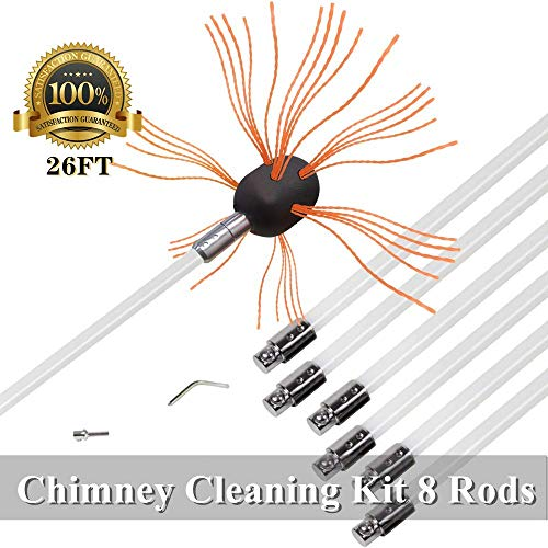 26ft Chimney Brush Electrical Drill Drive Sweeping Cleaning Tool Kits with Nylon Flexible Rods (8 rods) (Chimney Clean Kit)
