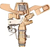 IrrigationKing RK-35 3/4' Part Circle Brass Impact Sprinkler with Nozzles - 11/64' x 1/8', NPT Male, 12.6 GSM Maximum Flow Rate