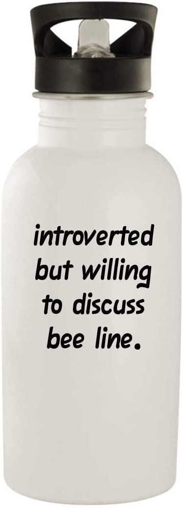 Introverted But Willing To Discuss Bee Line - 20oz Stainless Steel Water Bottle, White