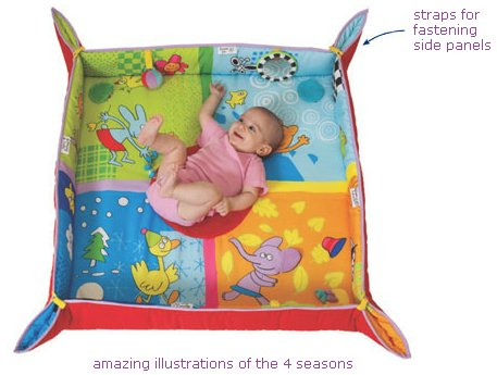 Taf Toys 4 Seasons Baby Activity Mat | Suitable from Birth, for Easier Development and Easier Parenting, Large Size, Soft, Cosy & Safe Fabric, Seasonal Vibrant Colored Base Panel, Safety - Panel Base Four