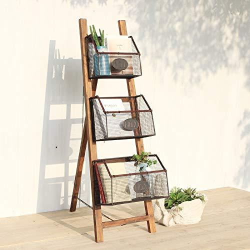 Baianju Solid Wood Wrought Iron Bookshelf Simple Magazine Rack Picture Book Stand Floor Magazine Rack Storage Rack Folding Bookshelf
