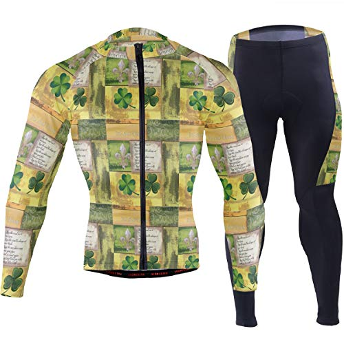 Irish St Patrick Fleur-De-Lis Men's Cycling Jersey Set Breathable Quick-Dry MTB Road Bike Luxury Black