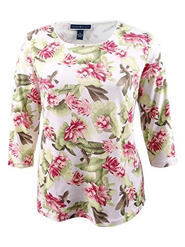 Karen Scott Womens Plus Floral Print Long Sleeves Pullover Top Green 2X from Karen Scott