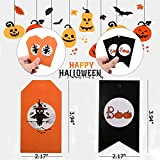 50 Pieces Halloween Gift Tags - Craft Tags, Gorgeous Cards with 33 Feet Strings for Halloween Gift Wrap, Lollipop Cookie Candy Baking Packaging, Perfect Halloween Party Supplies