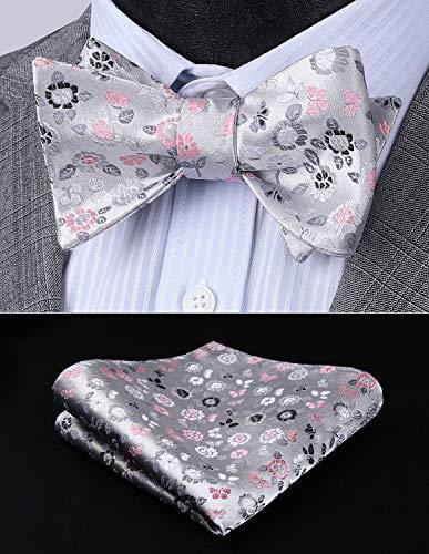 HISDERN Men's Floral Jacquard Wedding Party Self Bow Tie Pocket Square Set Red