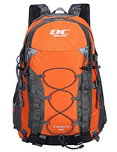 (Diamond Candy Hiking Backpack Waterproof 40L Unisex Travel Daypacks with Rain Cover for Outdoor Camping, Orange backpacking)