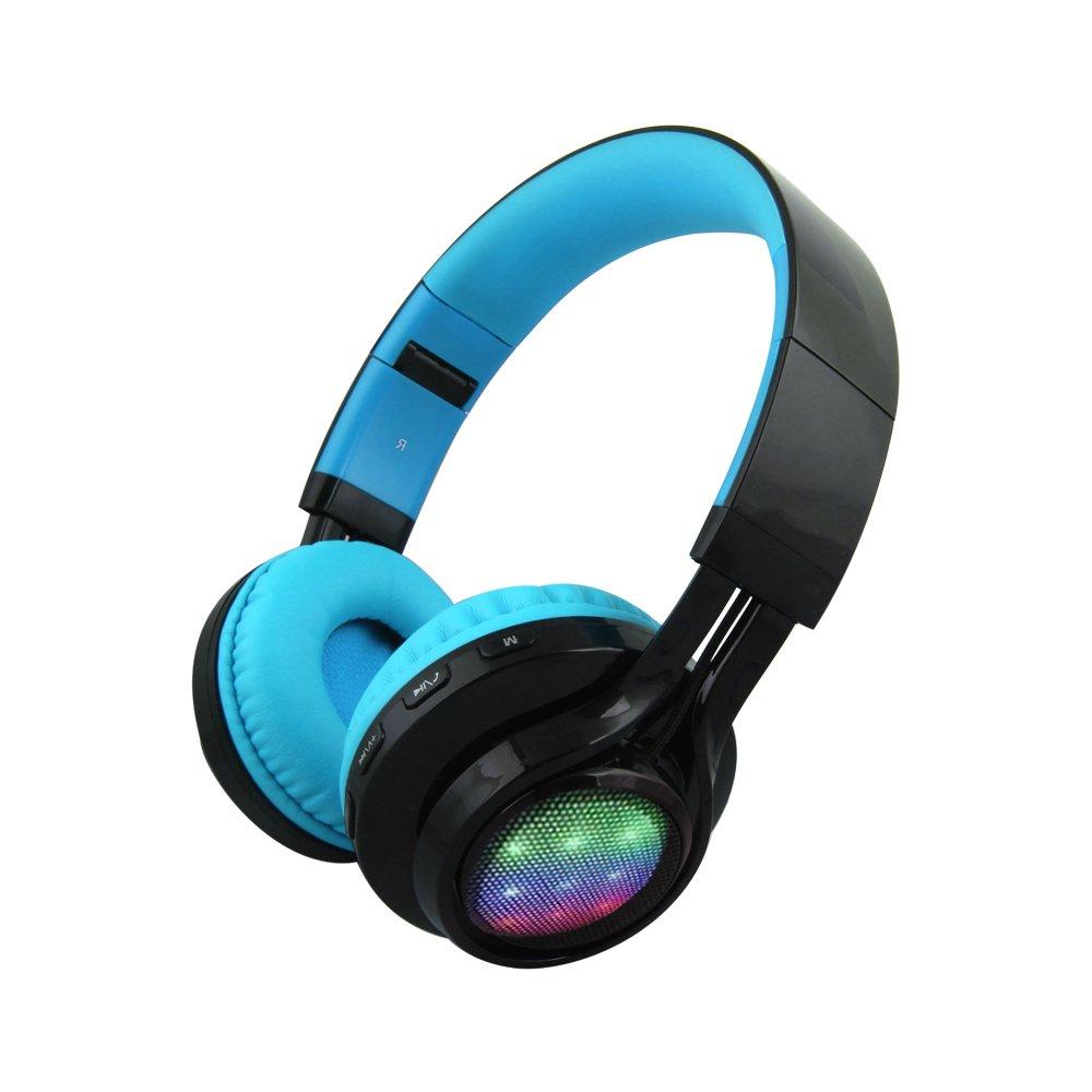 Alltrum Wireless Over-Ear Headphone Wireless Headsets for Sports, LED Light, Lightweight Style,Built-in Microphone, SD Slot, FM,Blue