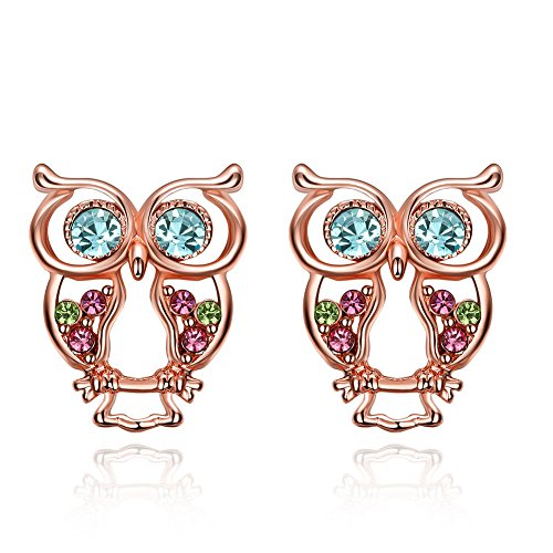 iCAREu Rose Gold Plated Colorful Czechic Diamond Owl Stud Earrings for Women, Girls