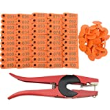 WGCD 1-100 Number Ear Tag Livestock Tags and 1 PCS Ear Tag Applicator Plier for Goat Sheep (Orange)