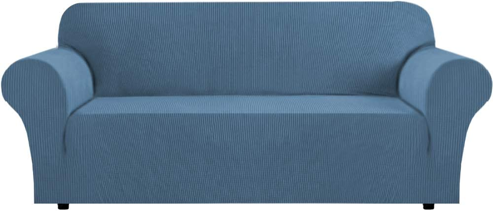 High Stretch Sofa Slipcover 1 Piece Sofa Cover Anti-Slip Sofa Cover for Living Room Jacquard Spandex Couch Cover Furniture Protector Machine Washable (Sofa, Dusty Blue)