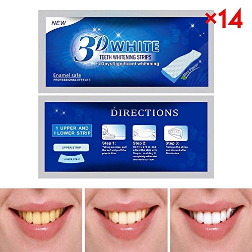 JZM 3D Teeth Whitening Strips 28 Advanced Teeth Whitening Professional White Strips 14 Pouches Tooth Bleaching Kit 3D