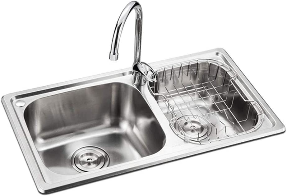 Amazon Com Kitchen Sinks Kitchen Sinks Inset Stainless Steel Sink Thickened Sink Reversible Kitchen Sink Double Bowl Eversible Drainer With Waste Pipes Clips Water Tap Color Silver Size 703919cm Home Kitchen