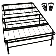 Epic Furnishings DuraBed Steel Foundation & Frame-in-One Mattress Support System Foldable Bed Frame with Headboard Attaching Brackets, Twin