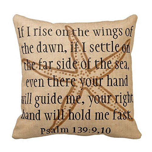 Far Side of the Sea Bible Verse Starfish Pillow Case 18 x 18″