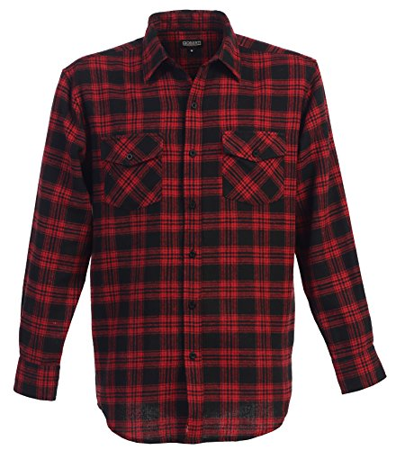 Gioberti Men's Flannel Shirt, Red/Black, Size (Red Flannel)