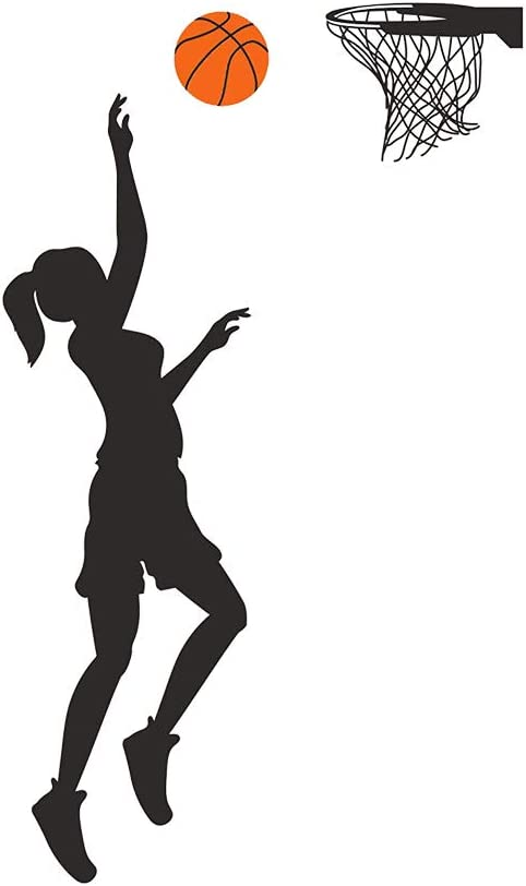 Home Find Basketball Player Wall Decals Basketball Player Silhouette Vinyl Stickers for Nursery Classroom Boys Girls Living Room Basketball Lover Basketball Gym Playroom Decals 12 inches x 41 inches