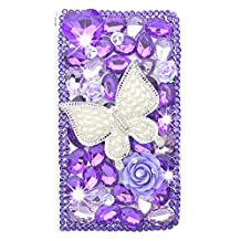 KAKA(TM) iPhone Case, iPhone6/6s Creative Design Clear Case Bling Glitter with Butterfly Purple Crystal Flowers Rhinestone