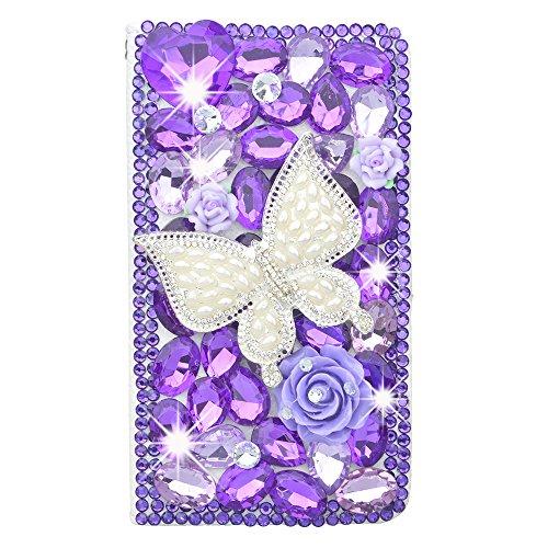 KAKA(TM) Samsung Case, Samsung Galaxy Note 4 Creative Design Clear Case Bling Glitter with Butterfly Purple Crystal Flowers Rhinestone