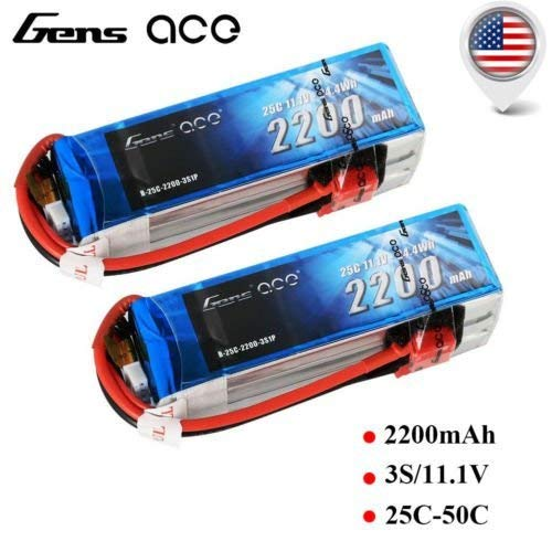 Gens ace 2 Pack 2200MAH 3S 11.1V 25c LIPO Battery Deans Plug TURNIGY Zippy Venom