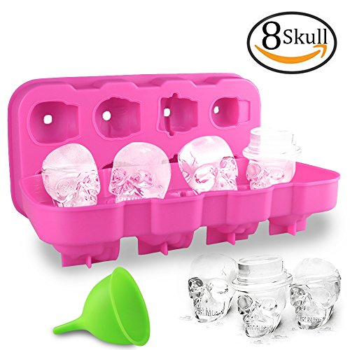 HoneyHolly 3D Skull Ice Cube Mold With Lid, Flexible Food Grade Silicone Ice Cube Chocolate Candy Mold Trays, Perfect For Kids Halloween Gifts, BPA Free - 8 Skull Rose
