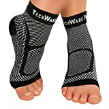 TechWare Pro Ankle Brace Compression Sleeve Relieves Achilles Tendonitis, Joint Pain. Plantar Fasciitis Foot Sock with Arch Support Reduces Swelling & Heel Spur Pain. Injury Recovery for Sports
