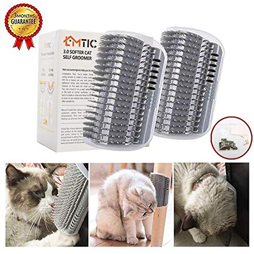 Cat Self Groomer, Wall Corner Massage Comb,Cat Corner Groomer Brush with Catnip,Perfect Massager Tool for Cats with Long and Short Fur- Grey(2PCS)