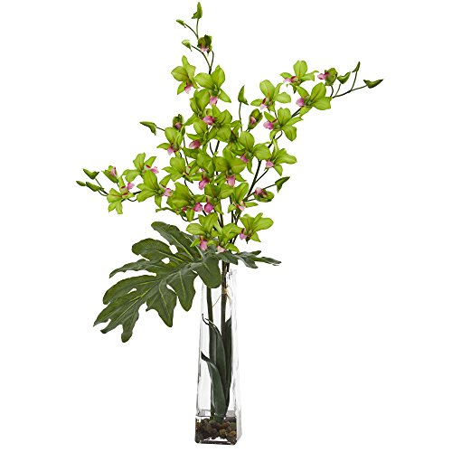 Nearly Natural 1646-GR Dendrobium Tropical Orchid Artificial Arrangement in Vase Silk, Green ()