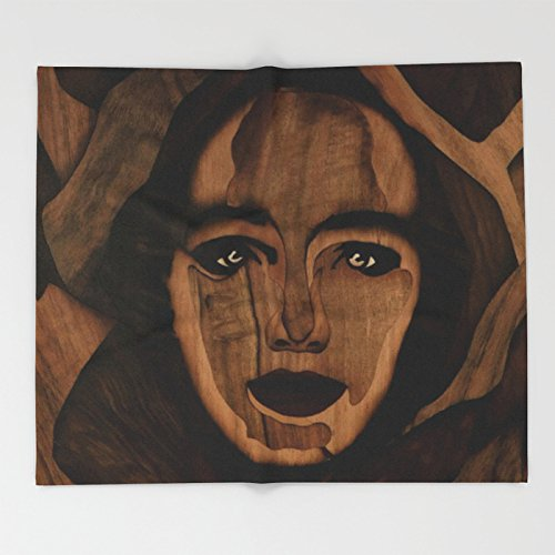 Society6 Fantasy wood face woman marquetry Throw Blankets 88'' x 104'' Blanket