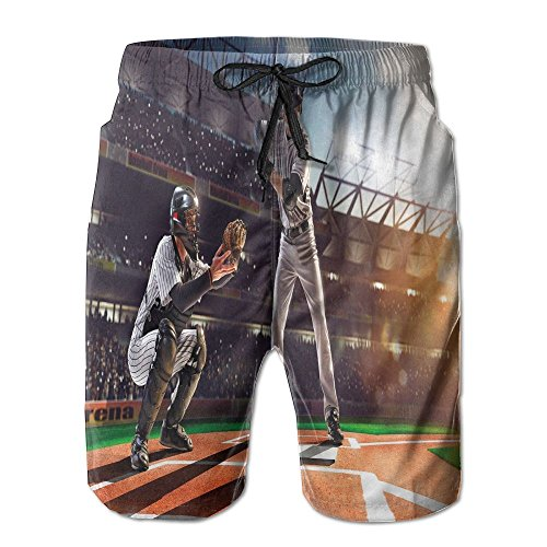 Sverypcool Men Professional Baseball Players in The Stadium Playing Colored Surfer's Shorts L (Pants Player Traveling)