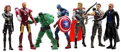 (WJLTRADES 7 PCS The Avengers Hulk+Captain America+Black Widow+Iron Man+Thor Figure US)