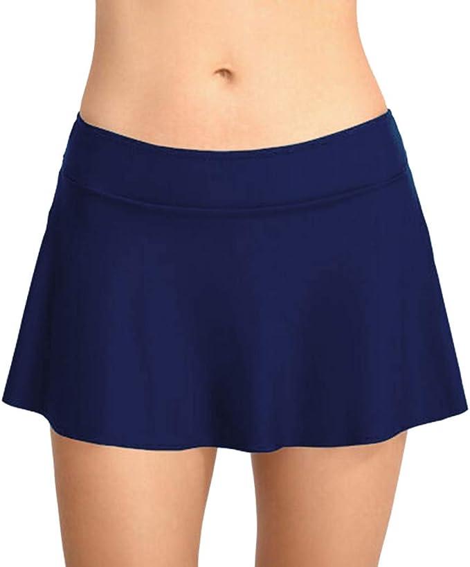 QinMMROPA Falda de baño de Cintura Alta para Mujer Falda-pantalón ...