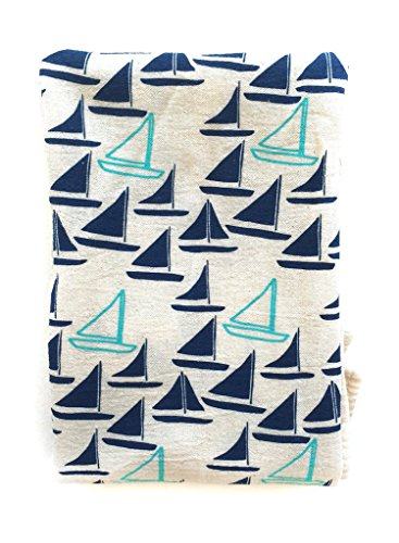 Flour Sack Tea Towel in Unbleached Cotton (Sailboat)