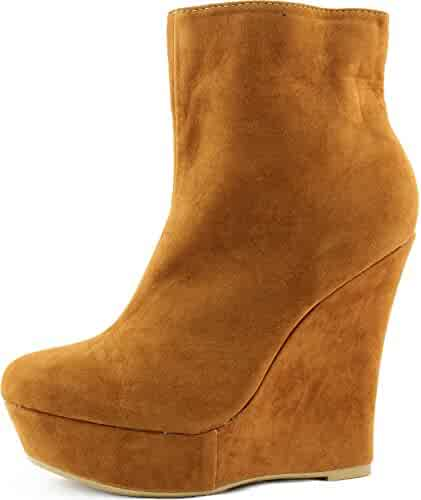 c4f51b0e1 Women s Wedge Ankle Booties Boat High Heel Side Zipper Mid Calf Boots  Fashion Shoes