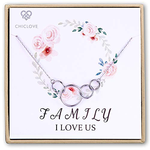 CHICLOVE Best Sterling Silver Family Necklace for Mom I Love Us Card Pendant Necklace Christmas Day Jewelry 4 Wife