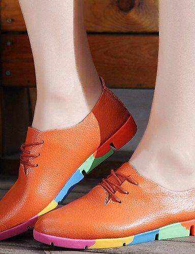 IOLKO IOLKO IOLKO njx Damen Schuhe Leder flach Ferse Spitz Toe Oxford Office & Karriere Casual Schwarz Blau Weiß Orange B01KHBR6LM Schnürhalbschuhe Verkauf Online-Shop 942083