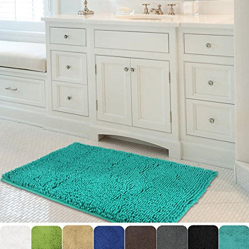 MAYSHINE 24x39 inch Non-slip Bathroom Rug Shag Shower Mat Machine-washable Bath mats with Water Absorbent Soft Microfibers of - Turquoise