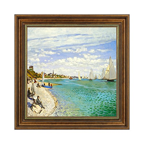 Dzhan Framed Art, Claude Monet Canvas, 20x20 Inch Sailboat Painting, Wall Art for Living Room (Monet Sailboats)