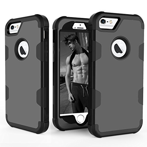 iPhone 6 6S Case, UZER Slim Fit 3 in 1 Hybrid Hard PC & Soft
